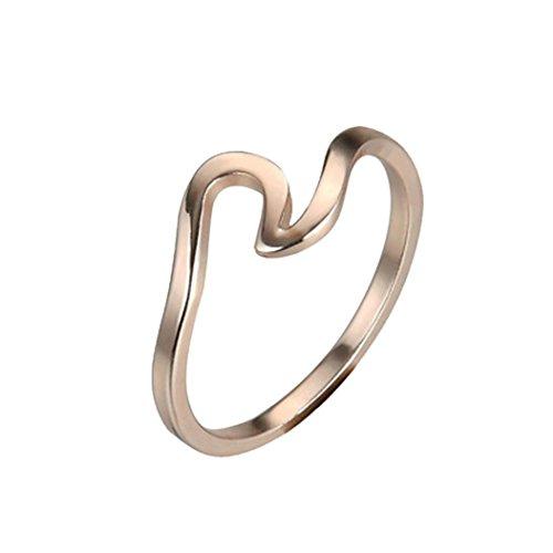FEITONG Wellen Ringe Ehering für Frauen, Mode Schmuck Zubehör Ringe Verlobungsring, Gold Roségold und Silber (Größe:8, - Mode-verlobungsringe