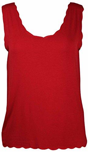 Purple Hanger - Débardeur T-Shirt Femme Cou Feston Couleur Unie Sans Manche Grande Taille Neuf Rouge