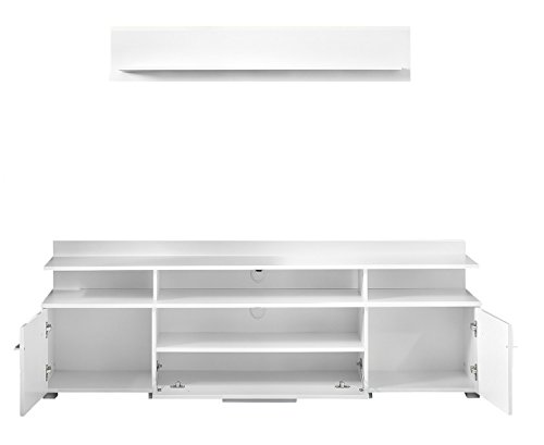 trendteam VIS32001 TV Möbel Lowboard Weiß Hochglanz + Wandboard Weiß Matt, Lowboard BxHxT 180x36x45 cm, Wandboard BxHxT 130 x 22 x 18 cm - 2