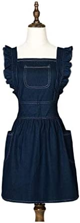 Multifunction Aprons Solid color Vintage Apron Kitchen Pinafore Baking Aprons Women Aprons Frilly Personalized