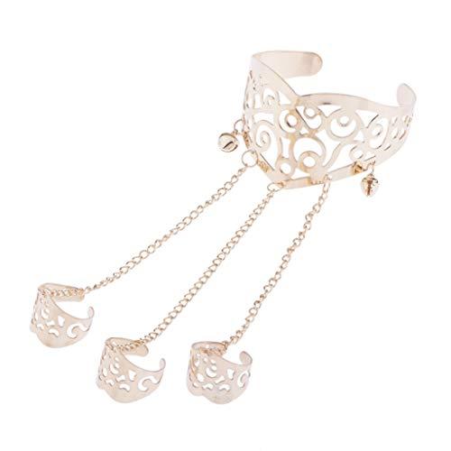 chiwanji Handkette Ringkette Armband mit DREI Finger Ring Armkettchen Frauen und Damen Geschenk, aus Legierung