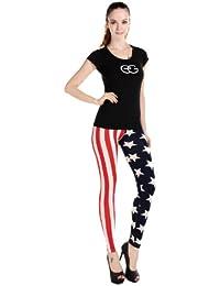 """Antemi - Femmes - Legging drapeau des états-unis """"Angie"""" - Rouge et Bleu"""