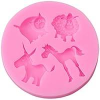 Ogquaton Molde de Silicona Unicornio Animales Lindos moldes para Fondant Sugarcraft Cake Decorating