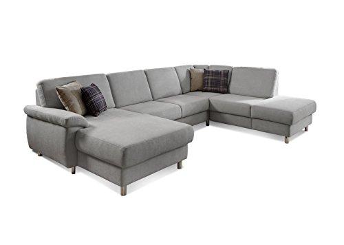 Ecksofa 'Winstono' / Ausziehbare Couch mit Federkern, Bettfunktion und Stauraum / Longchair links / Polstergarnitur U-Form / Hellgrau / 317 x 220 x 88 (L x...
