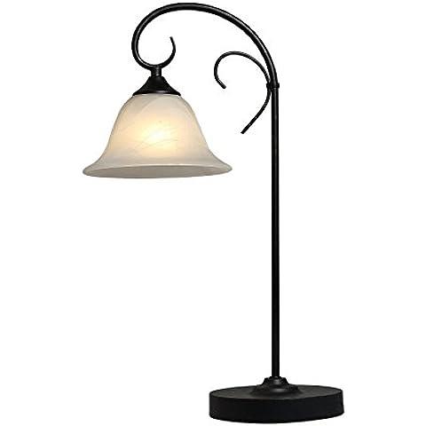 Lámpara de pie de metal para el rostfärbig de estilo antiguo, colour blanco alabastro y con aspecto de madera, con interruptor, Dimensiones: 330 x 190 x 520, exkl, 1 x E27 60 W 230 V