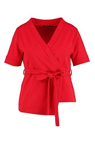 rouge Femmes Plus Jennie Top cache-cœur noué à la taille manches courtes Rouge