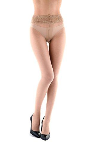 Miss O - Ouvert Strumpfhose, offenem Schritt mit Spitzenbund 20den (L/XL, beige)