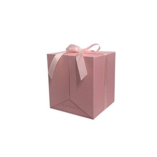 2018NEUF Motif fleur carré Boîte de cadeau, permet d'ouvrir les deux côtés, cadeaux de décoration de fête de mariage, les soirées pour Gusests d'emballage cadeau Saint Valentin 19X19X21cm rose