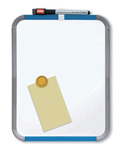 Nobo SlimLine Magnetische, Trocken Abwischbare Tafel mit abgerundeten Ecken, 220 x 280, Kunststoff-Rahmen, Inkl. Marker und Radierer, Weiß, QB05142ASTD
