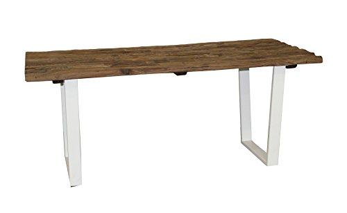 Pirouette Table Teck Recyclé Pieds en Métal, Bois, Blanc-Naturel, 180 x 90 x 76 cm
