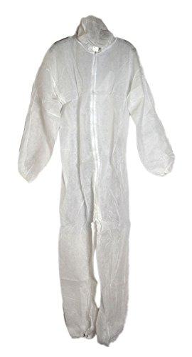 10 x PP Einweg Overall Schutzkleidung Schutzanzug weiß mit Kapuze Größe XL