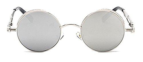 Memoryee Round Steampunk Sunglasses for Women John Lennon Style Metal Spring Frame Mirror Lens