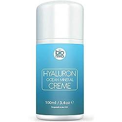 Crème complexe minéral d'Acide Hyaluronique pour le visage. Crème de jour hydratante anti-âge pour les femmes et les hommes. Réduit les rides, les lignes fines, et les taches de vieillesse. 100 ml