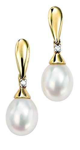 Elements Gold Damen-Ohrringe375 Perle 0.018 ct Weiß Rundschliff Süßwasserperlen Weiß 2.05 cm