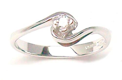 Aurum–Anillo solitario 18kt. Diamante 0,05CT.–Oro Blanco, talla 20