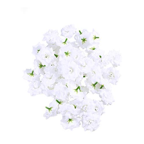 VORCOOL 50 Stück Kunstblumen Rosenköpfe Stoffrosen Deko-Blüte (Weiß)