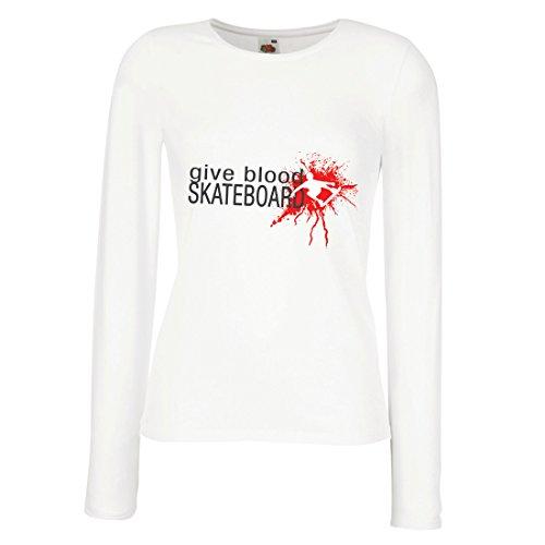 Weibliche Langen Ärmeln T-Shirt Gib Blut Skateboard! - lustige Skateboard Zitate, Pro Skater (XX-Large Weiß Mehrfarben)