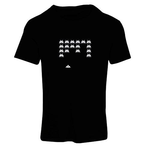 Frauen T-Shirt Weinlese pc maniacs lustige Gamergeschenke lustige Gamerhemden (Large Schwarz Weiß)