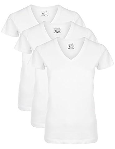 Berydale Damen T-Shirt mit V-Ausschnitt, 3er Pack, Weiß, XL