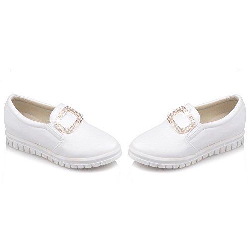VogueZone009 Femme à Talon Bas Mosaïque Tire Matière Souple Rond Chaussures Légeres Blanc