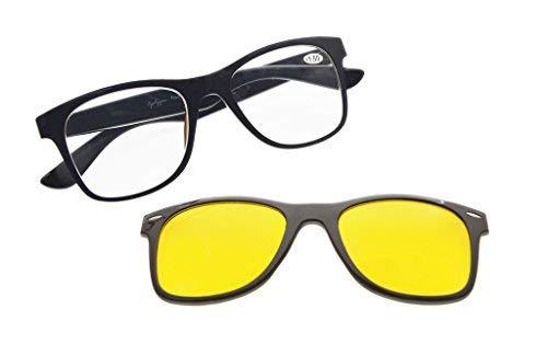 Eyekepper Lesebrille mit polarisiertem Anti-Blau Blendung Photochromic Linse Sun Clip Groß und schwer(Schwarz/Braun, 1.0)