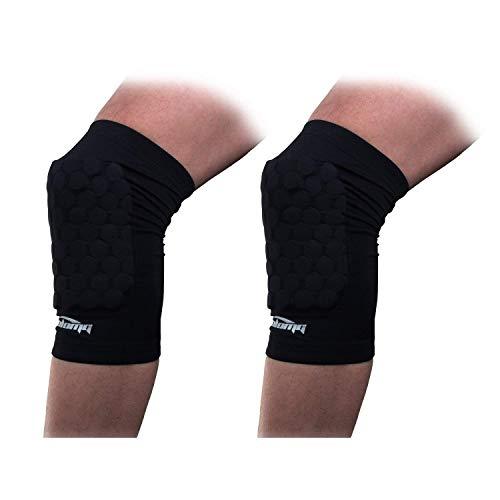 COOLOMG Knieschoner Knieschützer Beinstulpen Knieprotektor Basketball Fußball Volleyball für Herren Damen Jungen Schwarz L