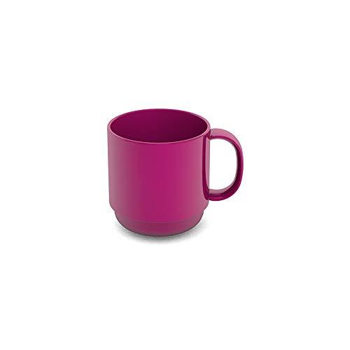 Ornamin Becher 220 ml brombeer (Modell 508) / Mehrweg-Becher Kunststoff, Kaffeebecher, Henkelbecher (Kinder Zeichen Trinkbecher)