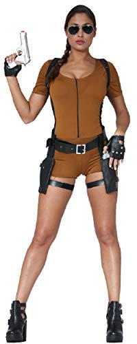 Fancy Me Damen Sexy Computerspiel Adventurer Tomb Hunter 1990s Film Cosplay Konvention Kostüm Kleid Outfit UK - Braun, UK - Lara Tomb Raider Kostüm