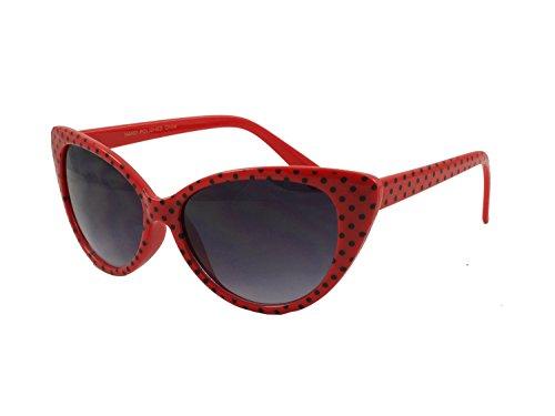 Nerd Sonnenbrille im Stil Retro Vintage Unisex Brille - Boolavard TM (Cat Eye - Rot Schwarz-Punkt)