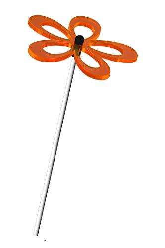 A3 1er Set Sonnenfänger Suncatcher Blume FLORA LEUCHT-Orange (Dunkelorange) 8cm incl. Acrylstab je 24cm. DAS ORIGINAL von Lumi-Flowers ®