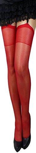 2 Paar klassische elastische Strapsstrümpfe alle Farben zum Anstrapsen Strapse Strümpfe 20 den (rot)