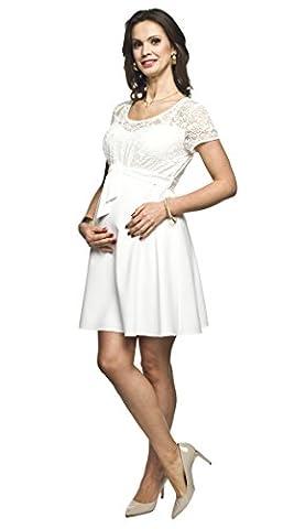Elegantes und bequemes Umstandskleid, Brautkleid, Hochzeitskleid für Schwangere Modell: SANTIA, creme, L