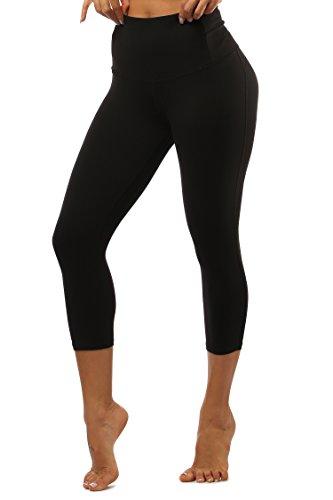 HAINES Sport Leggings Damen Tights 3/4 Sporthose Hohe Taille Yogahose Frauen Gym Fitnesshose Schwarz XL