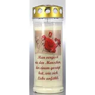 Kerzen Junglas Grablichtkerze, Grabkerze, Man vergisst nie den Menschen - 20x7,5 cm - 3848 - ca. 7 Tage Brenndauer - Trauerkerze mit Motiv, Foto und Spruch.