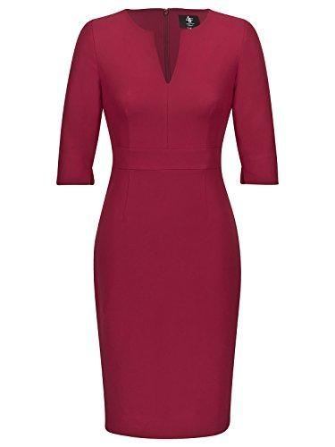 FOURFLAVOR Etuikleid Libell, Weinrot V-ausschnitt Knielang Dreiviertelarm Business Tailliert 87% Polyester, 13% Elasthan Rot