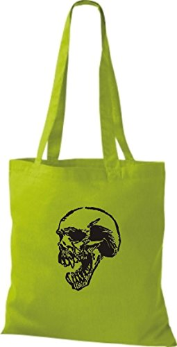 ShirtInStyle Stoffbeutel Skull Totenkopf Schädel diverse Farbe lime green