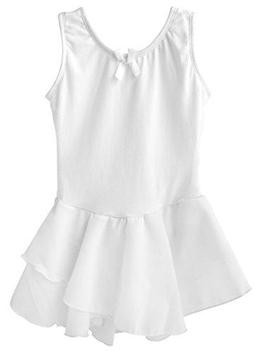 melloses Ballettkleid Ballettanzug mit Rock 116/122 Weiß (Schlichte Weiße Halloween-kleid)