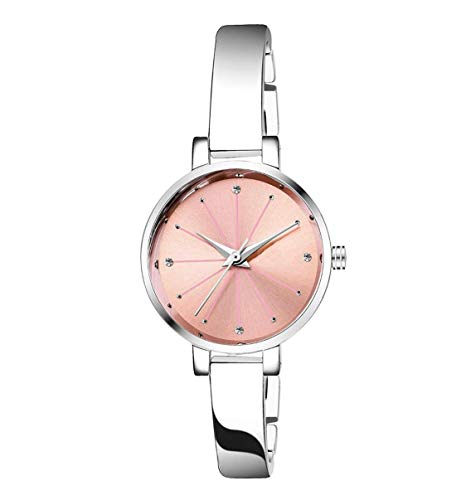 TIMESOON Analogue Pink Dial Silver Plated Bracelet Girl's & Women's Wrist Watch