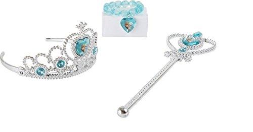 Elsa - Anna - Die Eiskönigin - Völlig Unverfroren - Disney Frozen - Krone - Zepter - Armband - Verkleidungsaccessoires Prinzessin Wer will sich als Kind nicht zur Eiskönigin verkleiden? (Disney Krone Frozen)