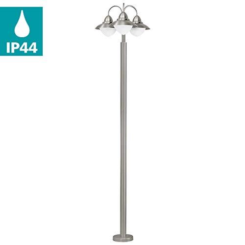EGLO Außen-Stehlampe Sidney, 3 flammige Außenleuchte, Standleuchte aus Edelstahl, Glas: Weiß, opal-matt, Farbe: Silber, Fassung: E27, IP44
