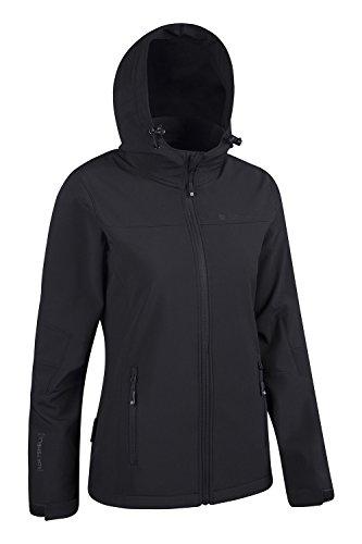 Mountain Warehouse Exodus Wasserbeständige Softshelljacke für Damen - Atmungsaktiver Damenmantel, abgerundete Rückenpartie - Regenmantel für den Alltag und kaltes Wetter Schwarz DE 34 (EU 36) - 2