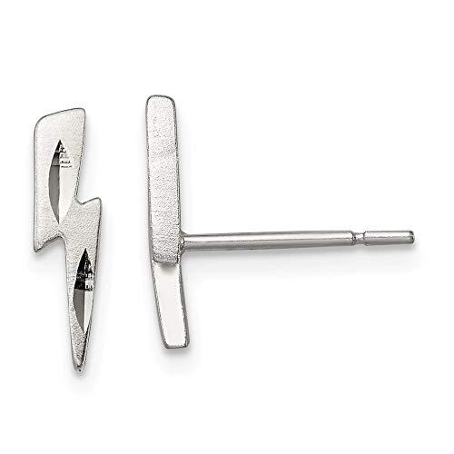 Sterling Silver Lightning Bolt Post Earrings -
