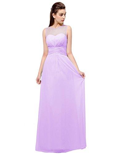 Dresstells Damen Rundhals Durchsichtig Chiffon Brautjungferkleid Bodenlang Ballkleid Abschlussball Lavender