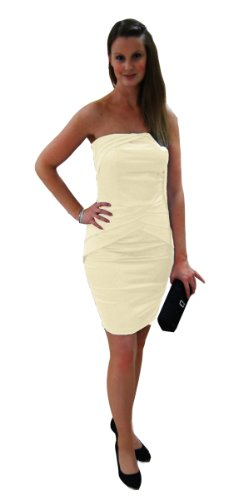 figurbetontes Etuikleid kurzes Brautkleid zum Standesamt knielang creme 36