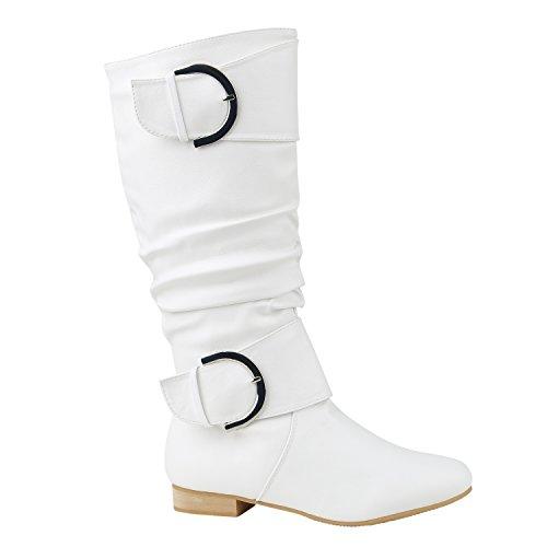 Silber Schnalle Stiefel (Klassische Damen Stiefel Schnallen Leder-Optik Booties Schuhe 144283 Weiss Silber 36 Flandell)