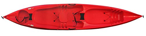 Tahe Marine Sit on Top Kajak Zweierkajak Kajak Tandem Angelkajak super Kippstabil, Farbe:Rot-Gelb-Marmoriert