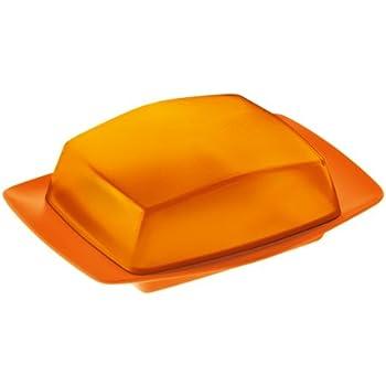 Koziol Rio Butter Dish, Solid Orange/ Transparent Orange