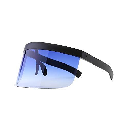 WJFDSGYG Übergroße Shield Visier Sonnenbrille Frauen Big Frame One Piece Randlose Brille Shades Clear Eyewear Gradient