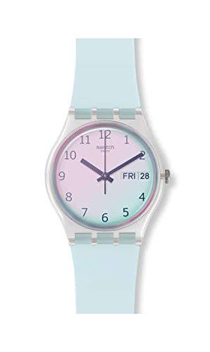 Swatch Damen Analog Quarz Uhr mit Silikon Armband GE713 - Von Swatch Uhren