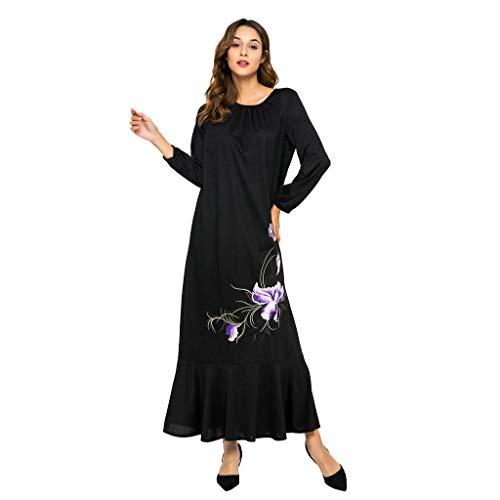�Hmische Lange Oberteil Der Frauen Muslimisches + Kleid-Set 2 StÜCk Frauen Ehnische Roben Abaya Islamischer Muslim Mittlerer EAS Floral Op Dress Suie ()